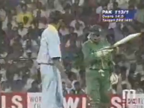 Aamir Sohail Points at Venkatesh Prasad After hitting a Four in the 1996 World Cup