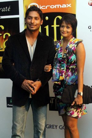 Photographs Of Kumar Sangakara And His Wife