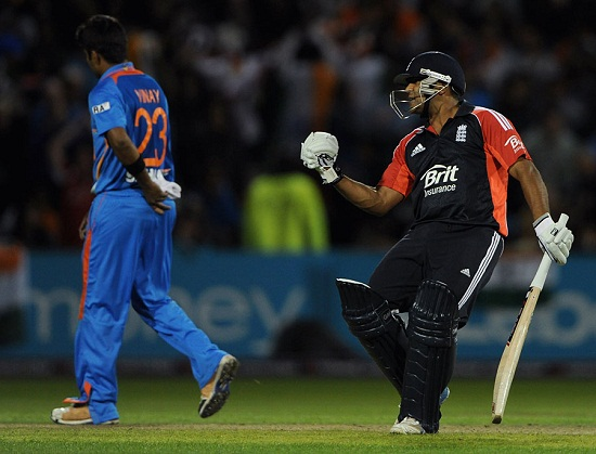 Samit patel celebrate after getting England home in T20 match played between India and England.