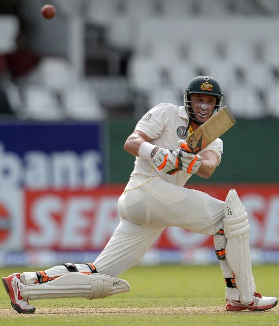 Michael Hussey plays through the leg side