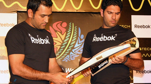 Yuvraj Singh With MS Dhoni at promotional event in Delhi