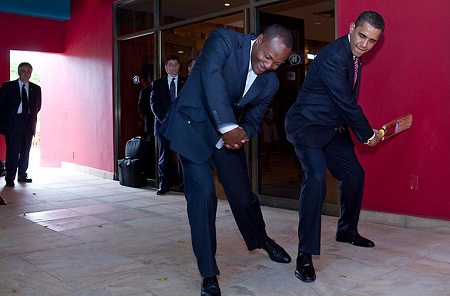 Barack Obama and Brian Lara in Port of Spain