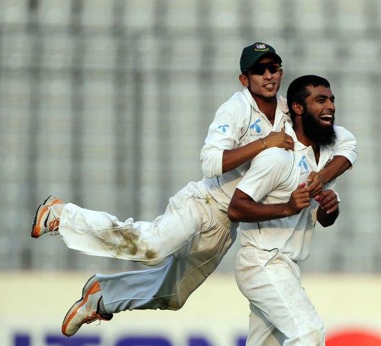 Suhrawadi Shuvo celebrates his dismissal of Kirk Edwards, Bangladesh v West Indies, 2nd Test, Mirpur, 3rd day,