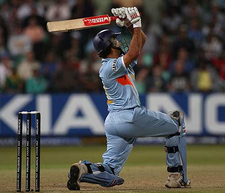 Yuvraj leaned back and hammered the ball over wide mid-on boundary for his 6th SIX