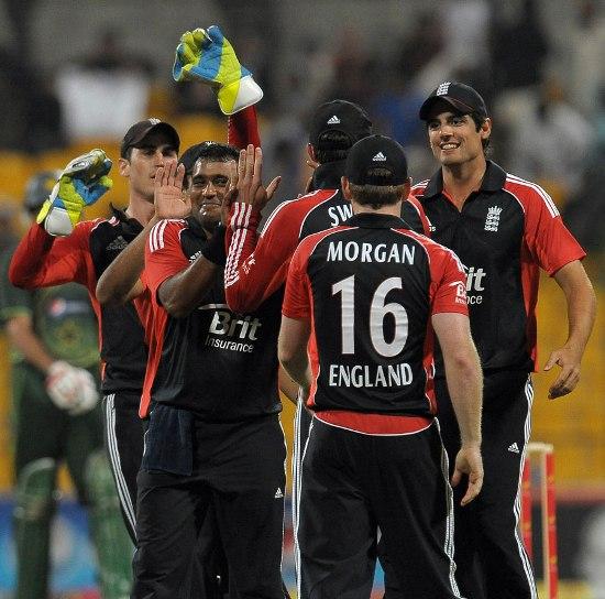 England celebrate Samit Patel celebrates Afridi wicket