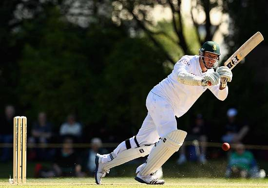 Graeme Smith plays a shot during his 24th test century