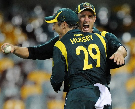 Michael Hussey celebrates Sri Lankan wickets