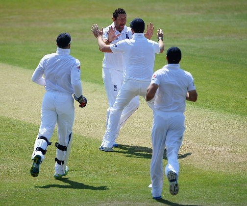 Tim Bresnan celebrates Windies wicket