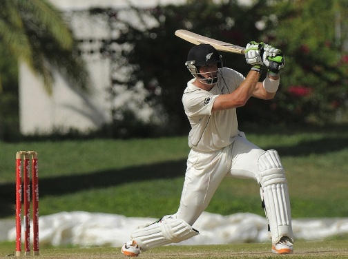 Martin Guptill drives the ball