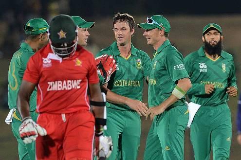 Albie Morkel celebrates Hamilton Masakadza wicket