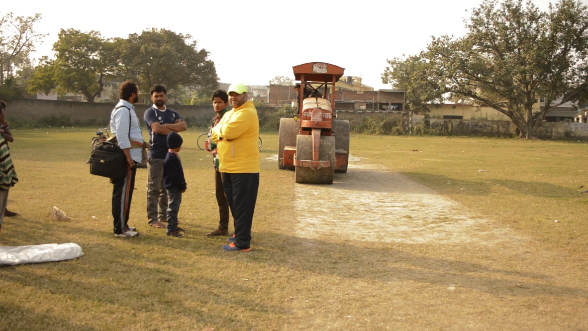 Pitch making for the cricket tournament